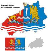Mapa de contorno do oblast de ivanovo com bandeira — Vetor de Stock
