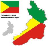 Outline map of Zabaykalsky krai with flag — Stock Vector