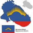 Постер, плакат: Outline map of Murmansk Oblast with flag