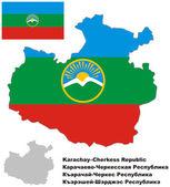 Outline map of Karachay-Cherkessia with flag — Stok Vektör