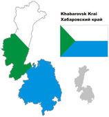 Outline map of Khabarovsk Krai with flag — Stock Vector