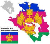 Outline map of Krasnodar Krai with flag — Stock Vector