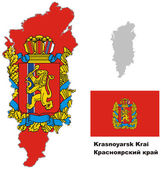 Outline map of Krasnoyarsk Krai with flag — Stock Vector