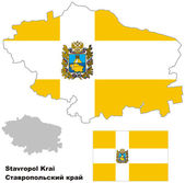 Outline map of Stavropol Krai with flag — Stock Vector