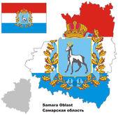 Outline map of Samara Oblast with flag — Stock Vector