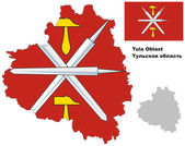 Outline map of Tula Oblast with flag — Vecteur