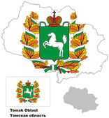 Outline map of Tomsk Oblast with flag — Stock Vector