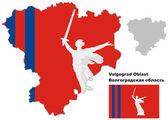 Outline map of Volgograd Oblast with flag — Cтоковый вектор