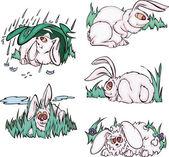Comic pink rabbits — Vecteur