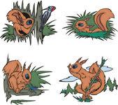Cartoon squirrels — Vecteur