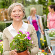 Stock Photo: Senior woman hold potted flower garden store