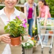 Senior woman hold potted flower garden shop — Stock Photo