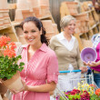 Garden centre woman hold red potted geranium - Stock Photo