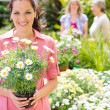 Woman shopping for flowers at garden centre - Stock Photo