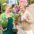 Customer at garden centre buying potted flowers — Stock Photo #12060260