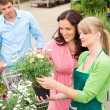 Garden center florist selling flowers to couple — Foto de Stock