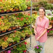Mulher centro de jardinagem, plantas de compras — Fotografia Stock