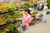 Woman buying potted flower in garden center — Stock Photo