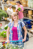 Woman with trolley shopping in garden center — Stock Photo