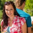 Young woman hold map visit tourist destination — Stock Photo