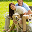 Stock Photo: Couple sitting with golden retriever in park
