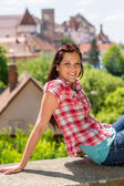 Young woman visit city sightseeing smiling posing — Stock Photo
