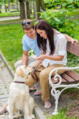 Young couple training dog in the park — Stok fotoğraf