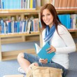 High school student at library read book — Stock Photo
