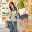 High school library students with books — Stock Photo