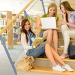 Group of high school classmates study library — Stock Photo #12588703