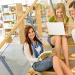 Group of high school classmates study library — Stock Photo #12588710