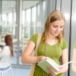 Stock Photo: High school student read book by window