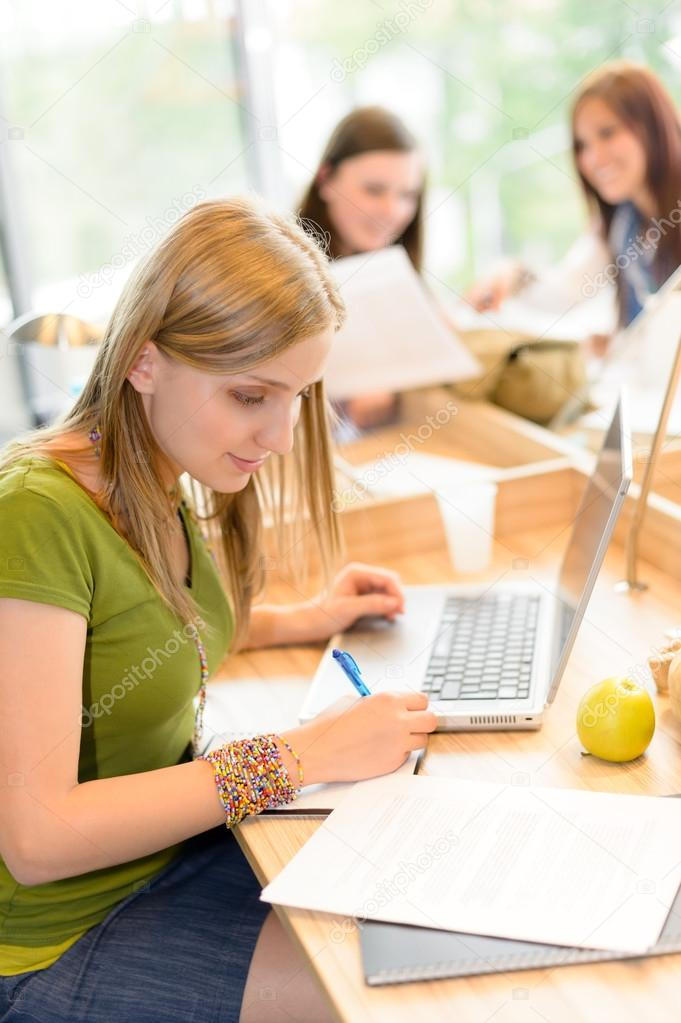 Students group working on computer at study room high school — Stock Photo #12588859