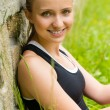 Young happy beautiful woman smiling portrait fresh - Stockfoto
