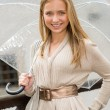 Стоковое фото: Young happy womin rain with umbrella