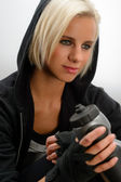 Sport blond woman wear black hoodie fitness — Stock Photo