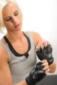 Kickbox woman wear protective gloves — Stock Photo