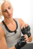 Kickbox woman wear protective gloves — Stock Photo