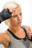 Kickbox woman sweating after training — Stock Photo