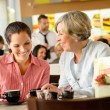 Mother and daughter relaxing in a cafe — Stock Photo #12729322