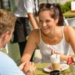 Couple enjoy coffee dessert restaurant terrace — Stock Photo