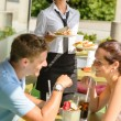 Couple waiting waitress sandwich lunch restaurant — Stock Photo