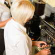 Waitresses at work make coffee machine cafe — Stock Photo