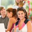High-school study group learning in library class — Stock Photo