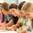 Students writing at high-school exam teens study — Stock Photo #12924932