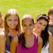 Teens relaxing in the park friends happy — Stock Photo
