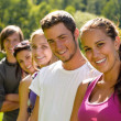 Teens smiling in the park campus students — Stock Photo