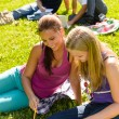 Teens studying in park reading book students - Stock Photo