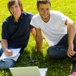 Teens sitting in park with laptop students - Stock Photo