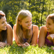Teen women talking and relaxing in park — Stock Photo #12926821